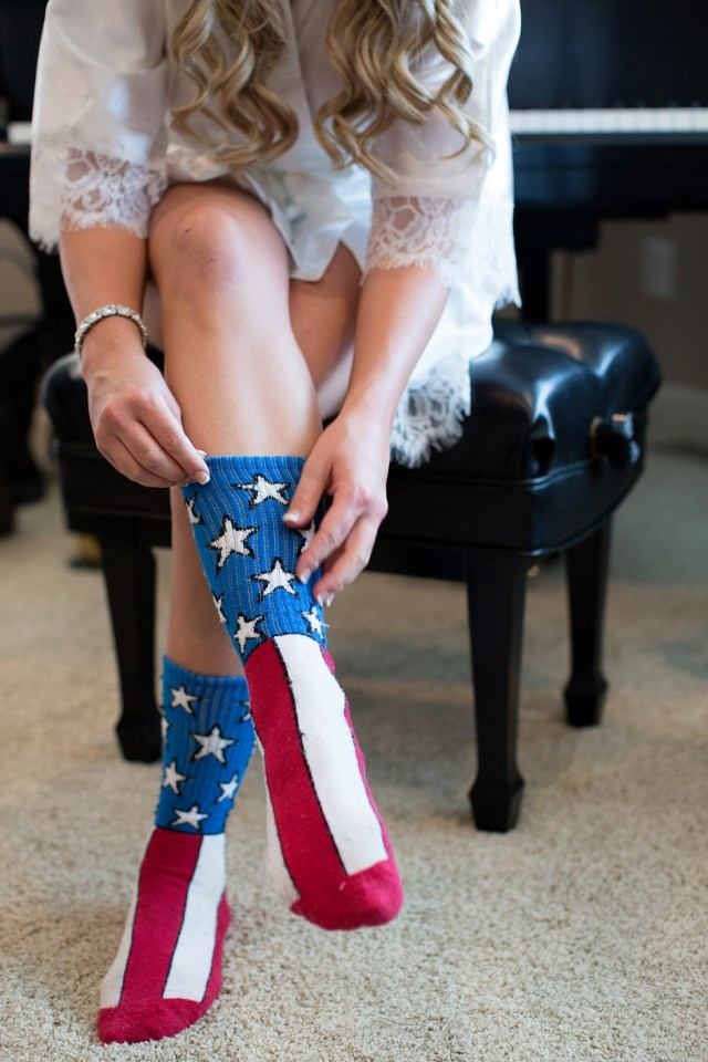 Bride Getting Ready Red White Blue Socks