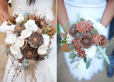 Wedding Accessories :Winter Wedding Bouquets With Pinecones