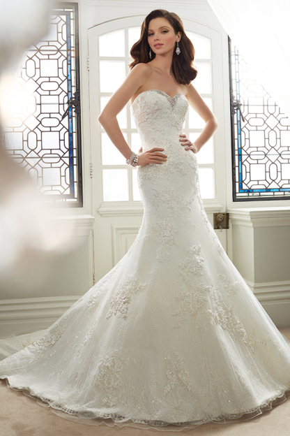 Strapless Delicate Allover Lace Trumpet Wedding Gown